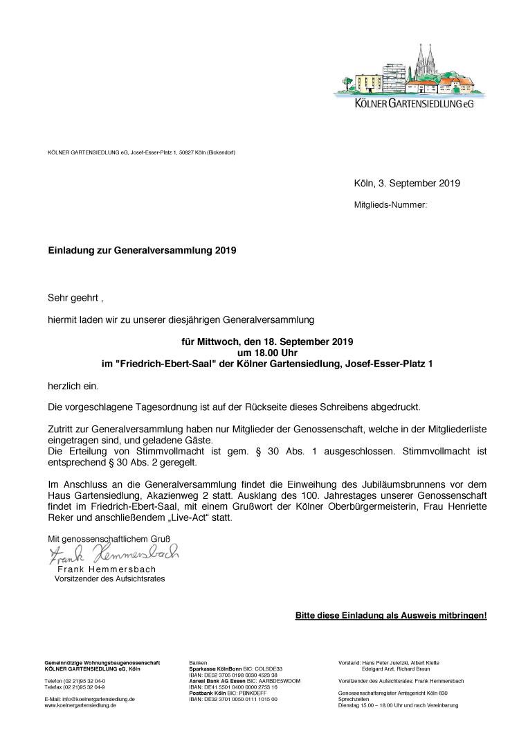 Einladung zur Mitgliederversammlung 2019